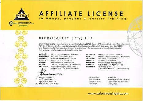Courses BT-PRO-SAFETY-Affiliation-Certificates